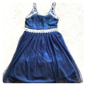 Navy and silver dress - Great for a wedding!